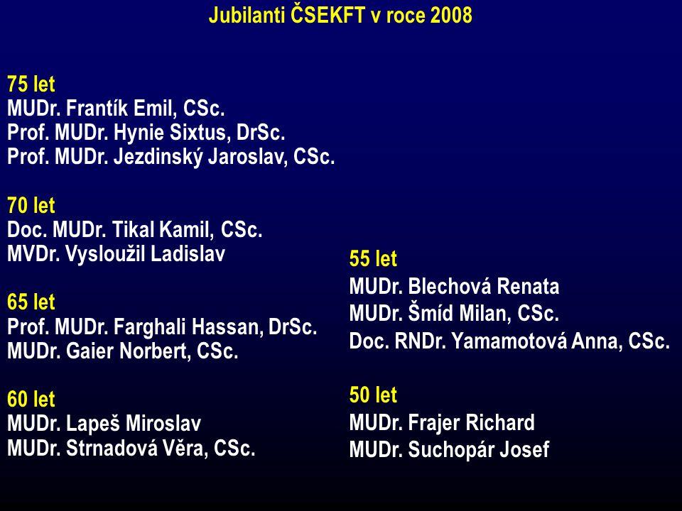 Jubilanti ČSEKFT v roce 2008 75 let MUDr. Frantík Emil, CSc. Prof. MUDr. Hynie Sixtus, DrSc. Prof. MUDr. Jezdinský Jaroslav, CSc. 70 let Doc. MUDr. Ti