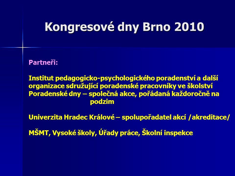 Kongresové dny Brno 2010 Partneři: Institut pedagogicko-psychologického poradenství a další organizace sdružující poradenské pracovníky ve školství Po
