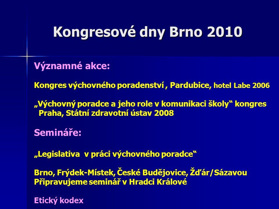"""Kongresové dny Brno 2010 Významné akce: Kongres výchovného poradenství, Pardubice, hotel Labe 2006 """"Výchovný poradce a jeho role v komunikaci školy"""" k"""
