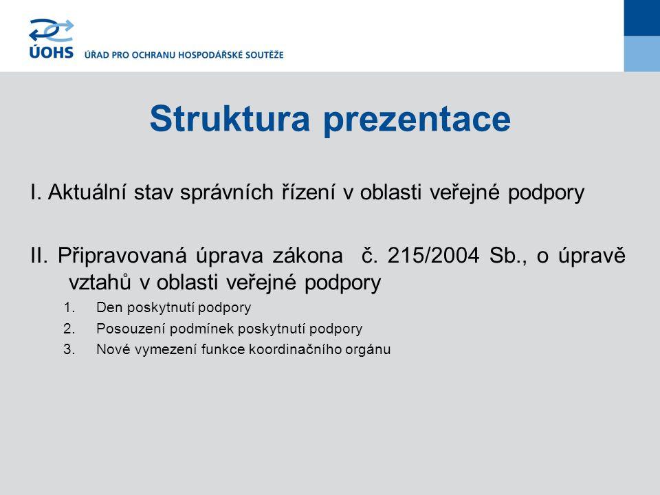Struktura prezentace I. Aktuální stav správních řízení v oblasti veřejné podpory II. Připravovaná úprava zákona č. 215/2004 Sb., o úpravě vztahů v obl