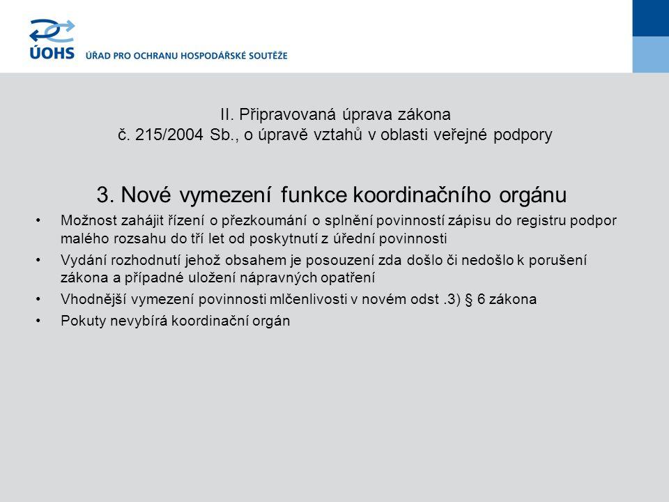 II.Připravovaná úprava zákona č. 215/2004 Sb., o úpravě vztahů v oblasti veřejné podpory 3.