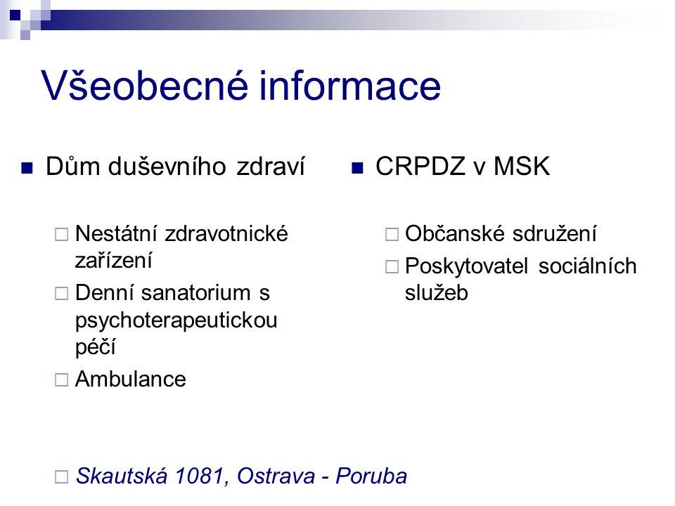 Všeobecné informace Dům duševního zdraví  Nestátní zdravotnické zařízení  Denní sanatorium s psychoterapeutickou péčí  Ambulance  Skautská 1081, O