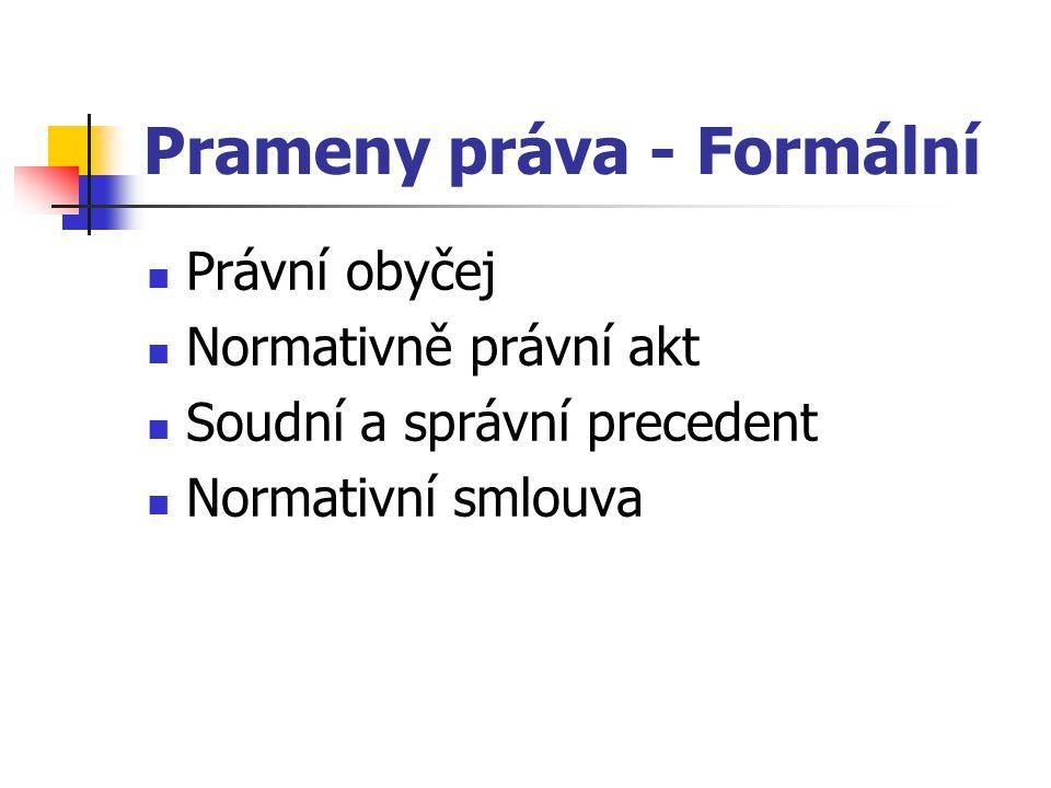 Prameny práva - Formální Právní obyčej Normativně právní akt Soudní a správní precedent Normativní smlouva