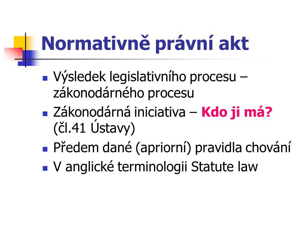 Normativně právní akt Výsledek legislativního procesu – zákonodárného procesu Zákonodárná iniciativa – Kdo ji má? (čl.41 Ústavy) Předem dané (apriorní