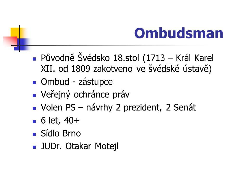 Ombudsman Původně Švédsko 18.stol (1713 – Král Karel XII. od 1809 zakotveno ve švédské ústavě) Ombud - zástupce Veřejný ochránce práv Volen PS – návrh