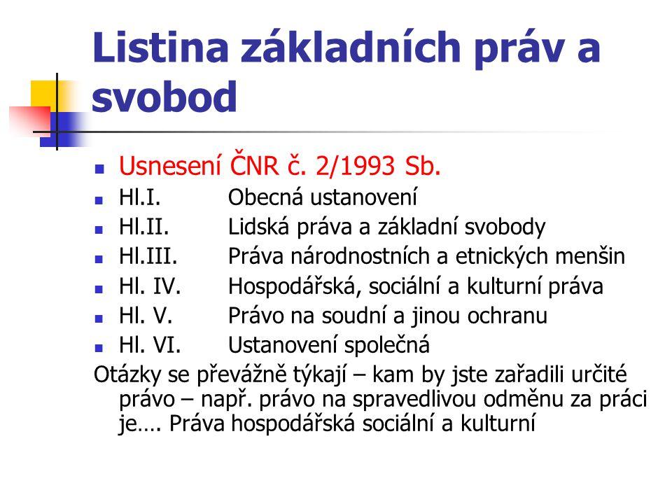 Listina základních práv a svobod Usnesení ČNR č. 2/1993 Sb. Hl.I. Obecná ustanovení Hl.II.Lidská práva a základní svobody Hl.III.Práva národnostních a