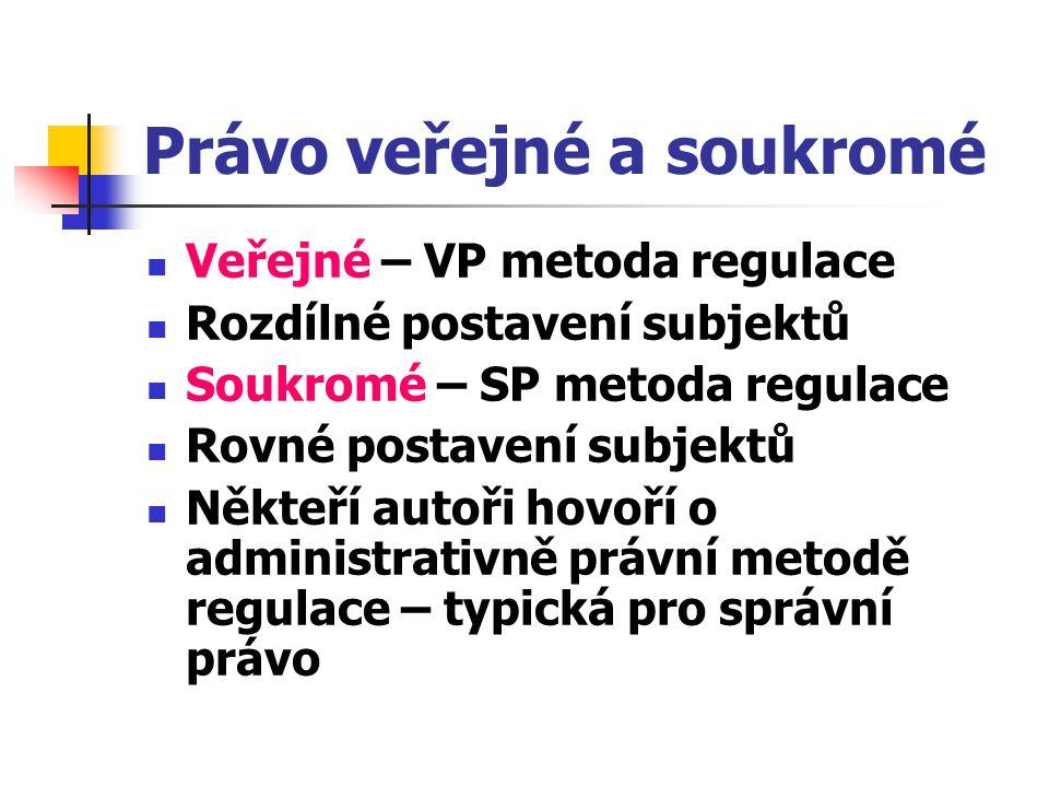 Právo veřejné a soukromé Veřejné – VP metoda regulace Rozdílné postavení subjektů Soukromé – SP metoda regulace Rovné postavení subjektů Někteří autoř