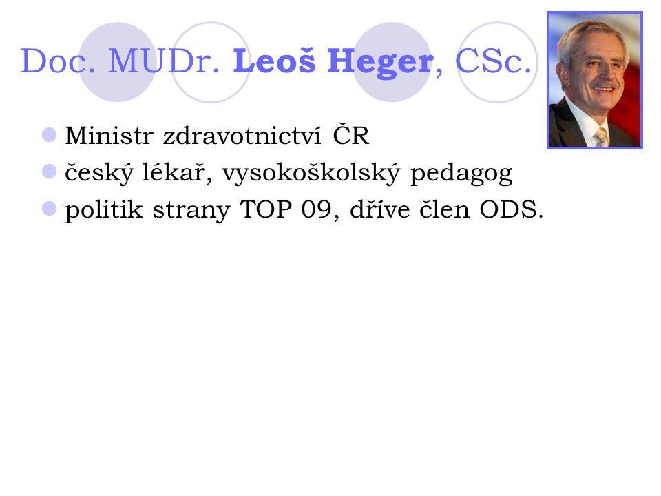 Doc. MUDr. Leoš Heger, CSc. Ministr zdravotnictví ČR český lékař, vysokoškolský pedagog politik strany TOP 09, dříve člen ODS.