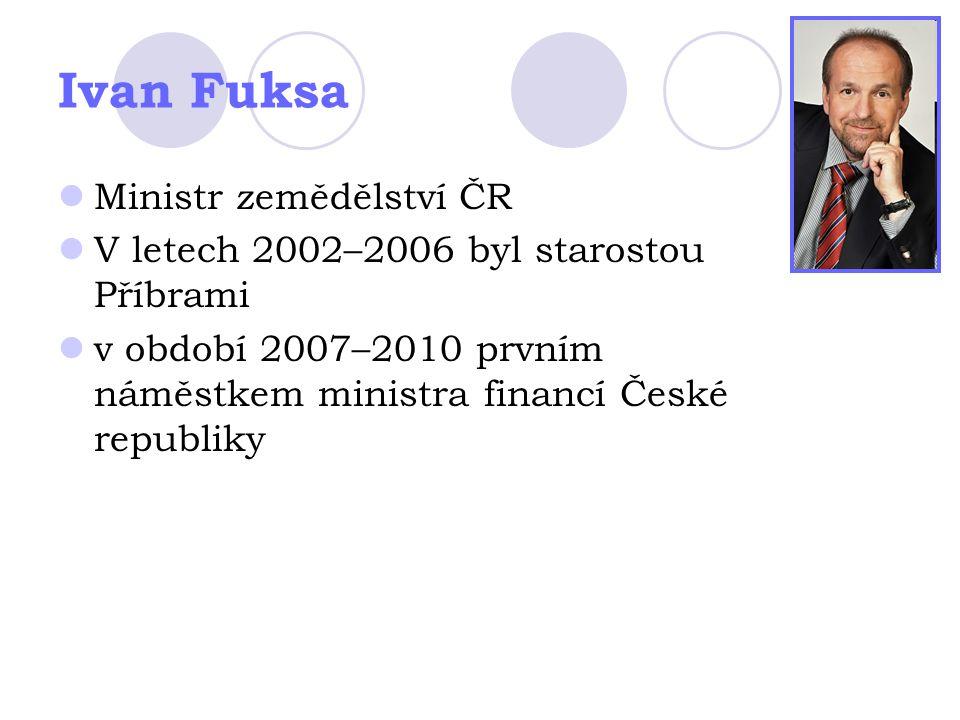 Ivan Fuksa Ministr zemědělství ČR V letech 2002–2006 byl starostou Příbrami v období 2007–2010 prvním náměstkem ministra financí České republiky