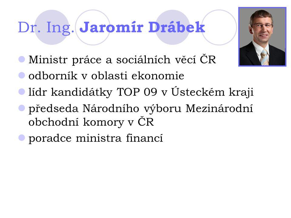Dr. Ing. Jaromír Drábek Ministr práce a sociálních věcí ČR odborník v oblasti ekonomie lídr kandidátky TOP 09 v Ústeckém kraji předseda Národního výbo