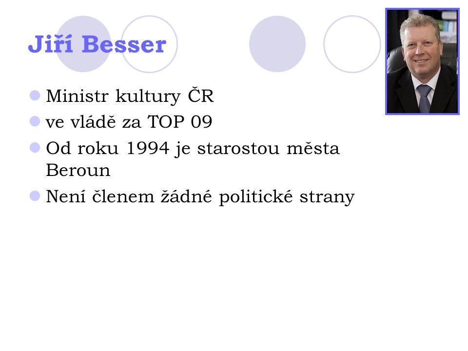 Jiří Besser Ministr kultury ČR ve vládě za TOP 09 Od roku 1994 je starostou města Beroun Není členem žádné politické strany