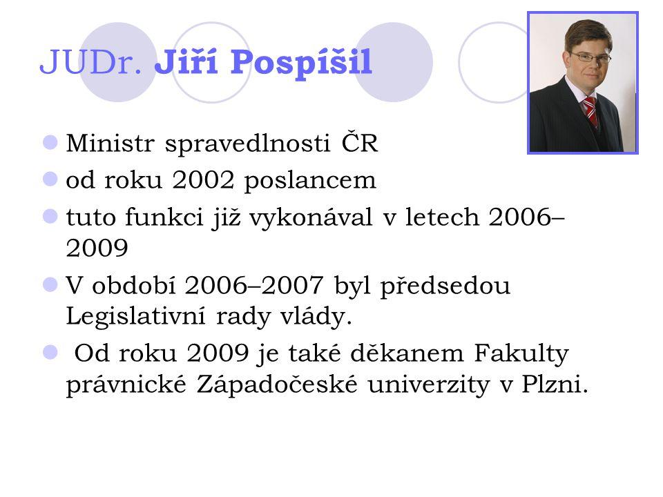 JUDr. Jiří Pospíšil Ministr spravedlnosti ČR od roku 2002 poslancem tuto funkci již vykonával v letech 2006– 2009 V období 2006–2007 byl předsedou Leg