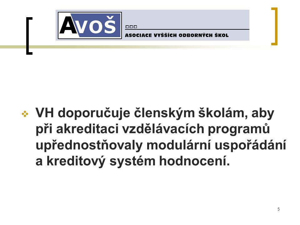 5  VH doporučuje členským školám, aby při akreditaci vzdělávacích programů upřednostňovaly modulární uspořádání a kreditový systém hodnocení.