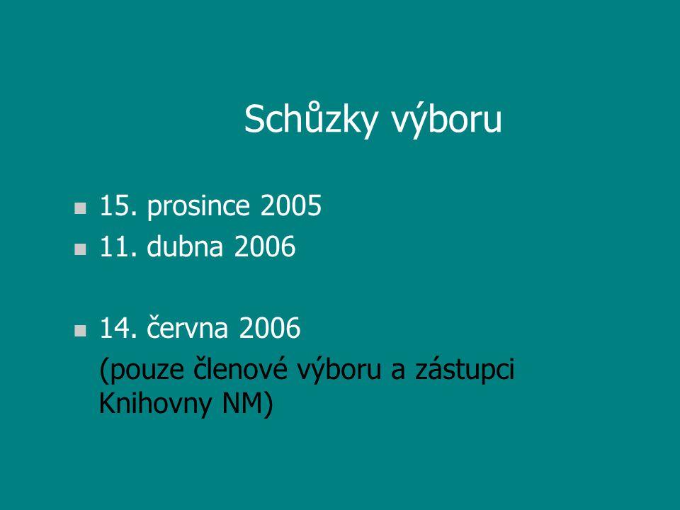 Schůzky výboru n 15. prosince 2005 n 11. dubna 2006 n 14.