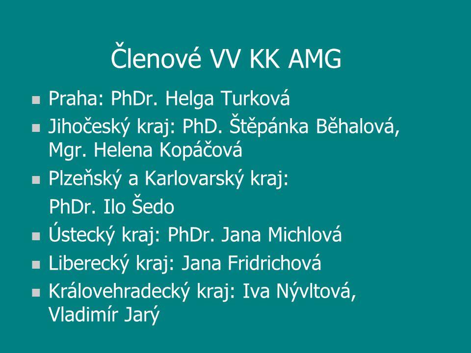 Členové VV KK AMG n Praha: PhDr. Helga Turková n Jihočeský kraj: PhD.