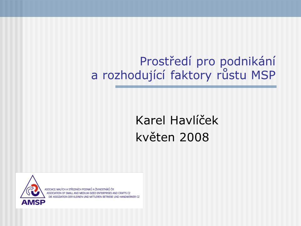 Prostředí pro podnikání a rozhodující faktory růstu MSP Karel Havlíček květen 2008