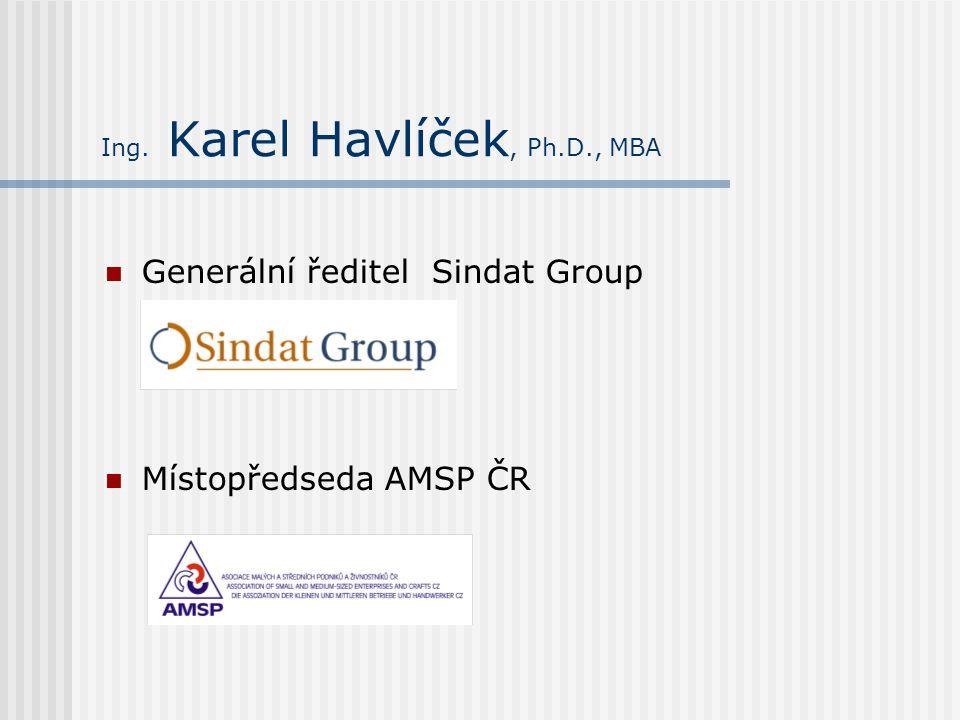 Ing. Karel Havlíček, Ph.D., MBA Generální ředitel Sindat Group Místopředseda AMSP ČR