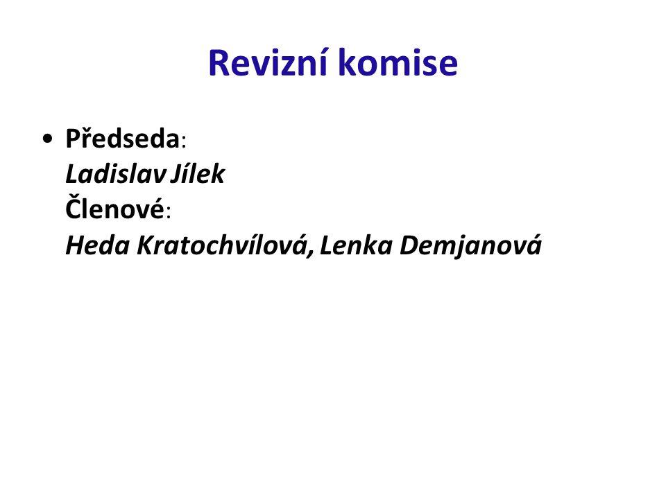 Revizní komise Předseda : Ladislav Jílek Členové : Heda Kratochvílová, Lenka Demjanová