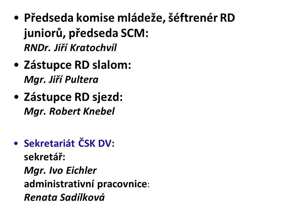 Předseda komise mládeže, šéftrenér RD juniorů, předseda SCM: RNDr. Jiří Kratochvíl Zástupce RD slalom: Mgr. Jiří Pultera Zástupce RD sjezd: Mgr. Rober