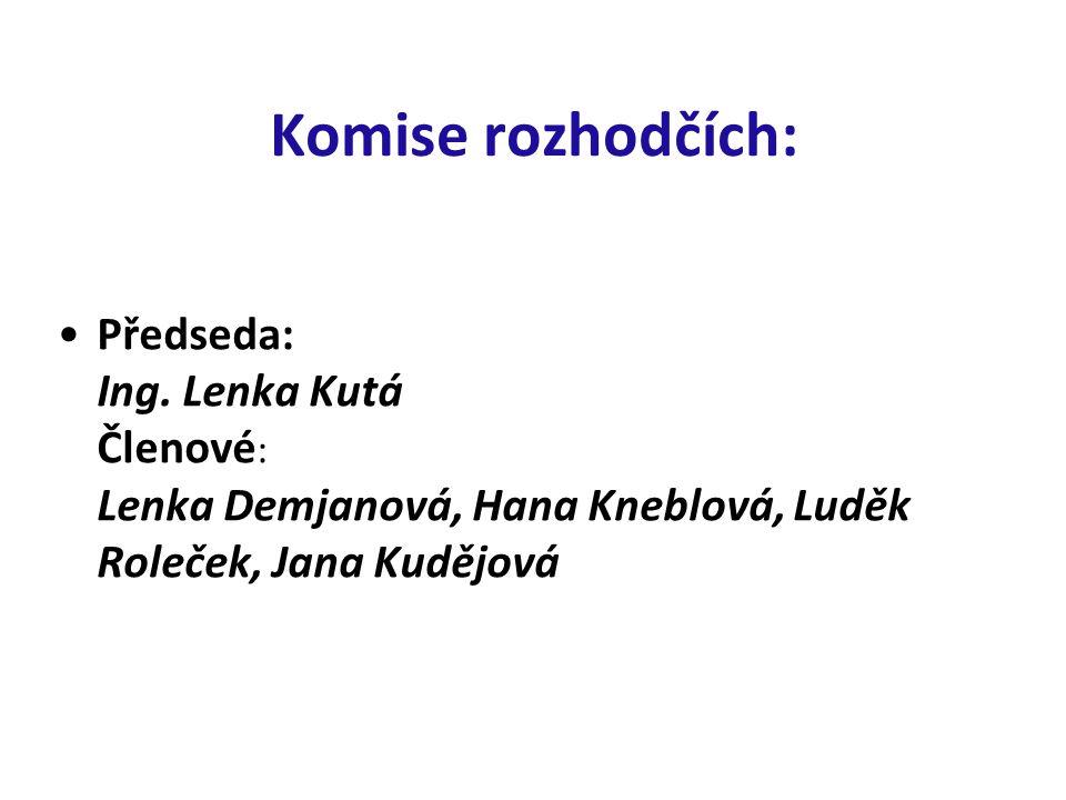 Komise rozhodčích: Předseda: Ing. Lenka Kutá Členové : Lenka Demjanová, Hana Kneblová, Luděk Roleček, Jana Kudějová