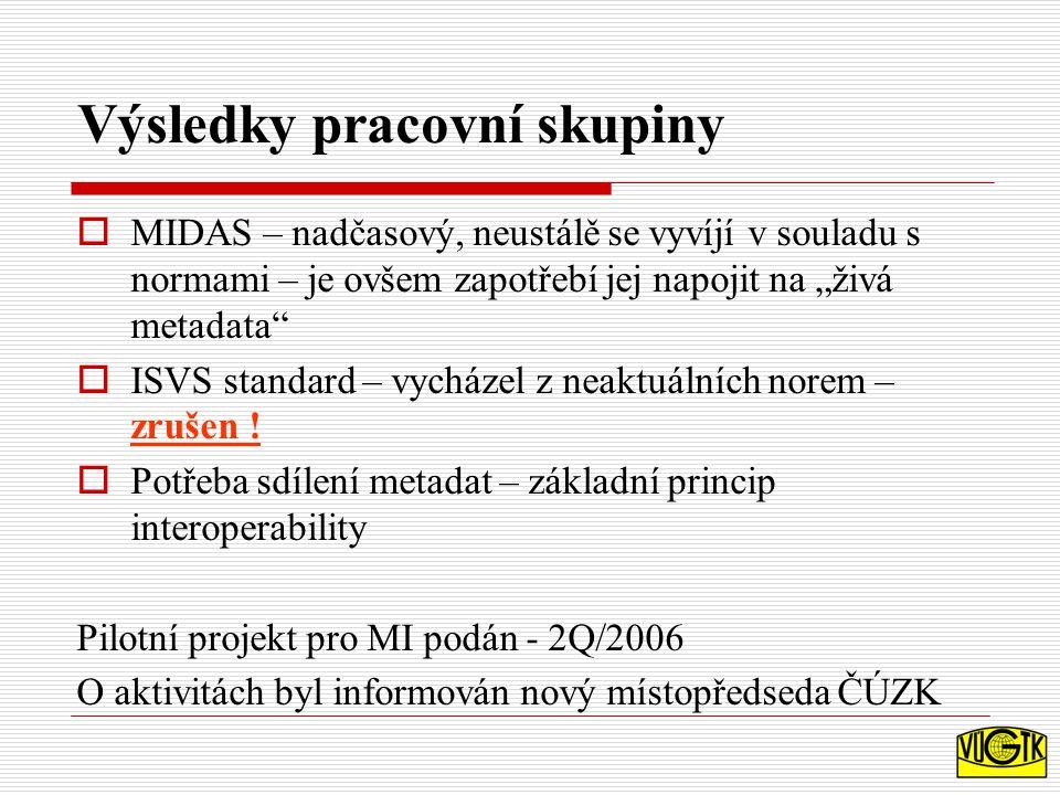 """Výsledky pracovní skupiny  MIDAS – nadčasový, neustálě se vyvíjí v souladu s normami – je ovšem zapotřebí jej napojit na """"živá metadata  ISVS standard – vycházel z neaktuálních norem – zrušen ."""