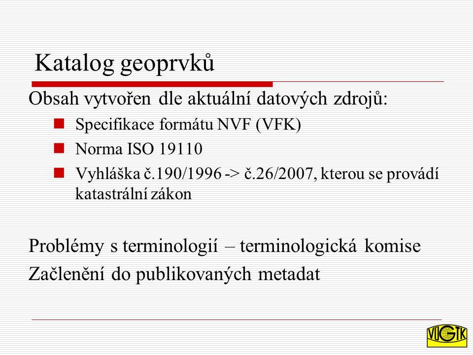 Katalog geoprvků Obsah vytvořen dle aktuální datových zdrojů: Specifikace formátu NVF (VFK) Norma ISO 19110 Vyhláška č.190/1996 -> č.26/2007, kterou se provádí katastrální zákon Problémy s terminologií – terminologická komise Začlenění do publikovaných metadat
