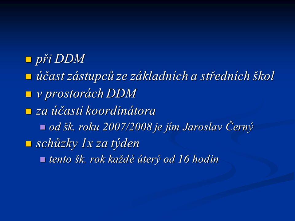 při DDM při DDM účast zástupců ze základních a středních škol účast zástupců ze základních a středních škol v prostorách DDM v prostorách DDM za účasti koordinátora za účasti koordinátora od šk.