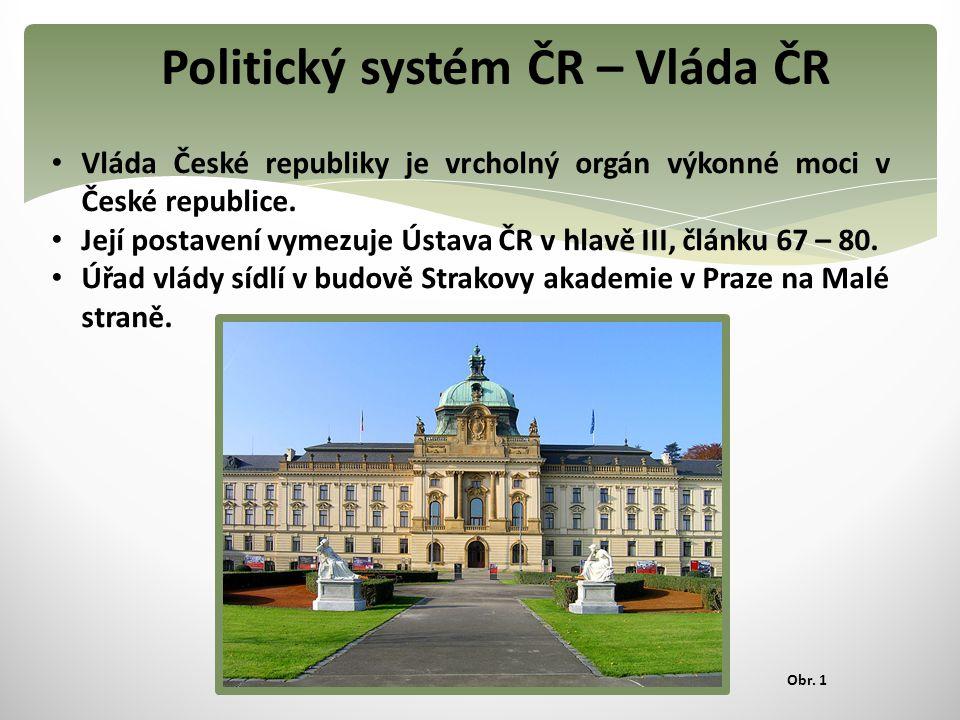 Politický systém ČR – Vláda ČR Vláda České republiky je vrcholný orgán výkonné moci v České republice. Její postavení vymezuje Ústava ČR v hlavě III,