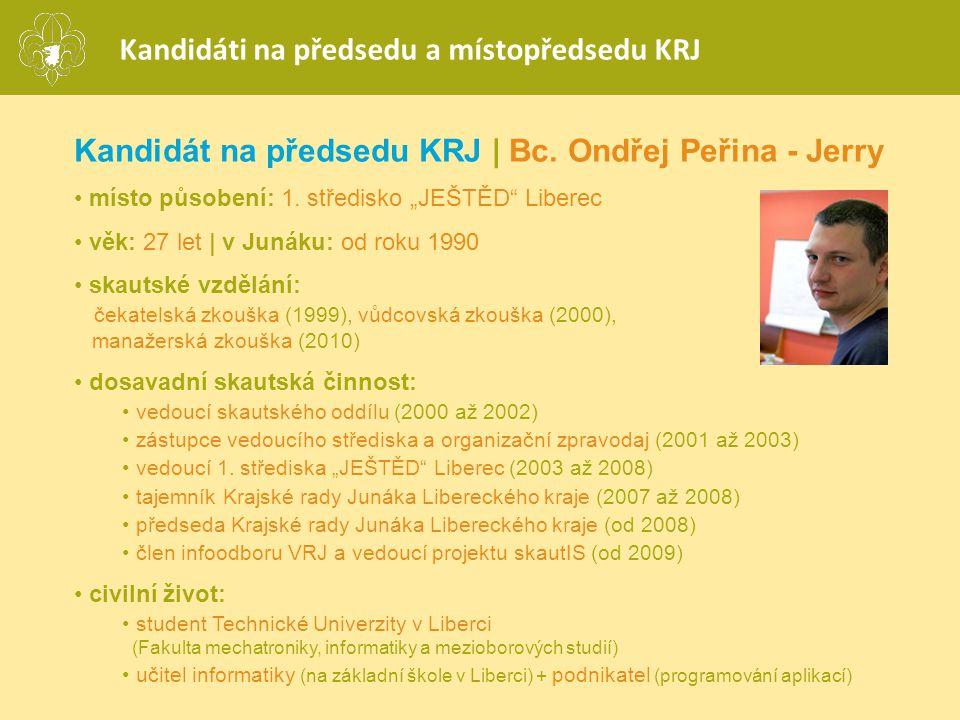Kandidáti na předsedu a místopředsedu KRJ Kandidát na předsedu KRJ | Bc.