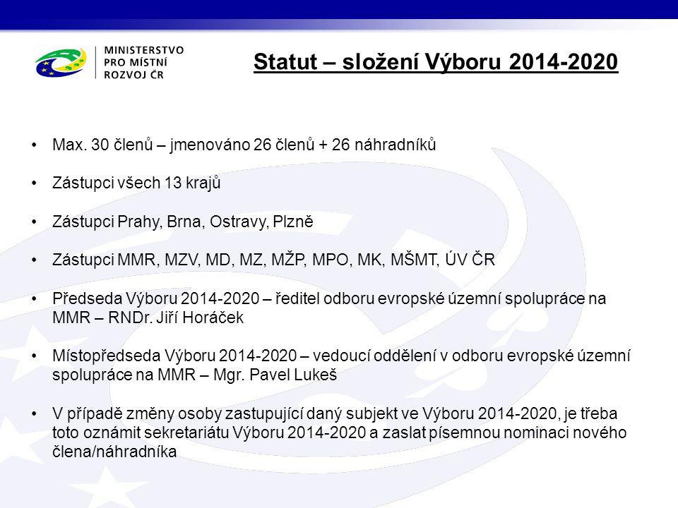Statut – složení Výboru 2014-2020 Max.