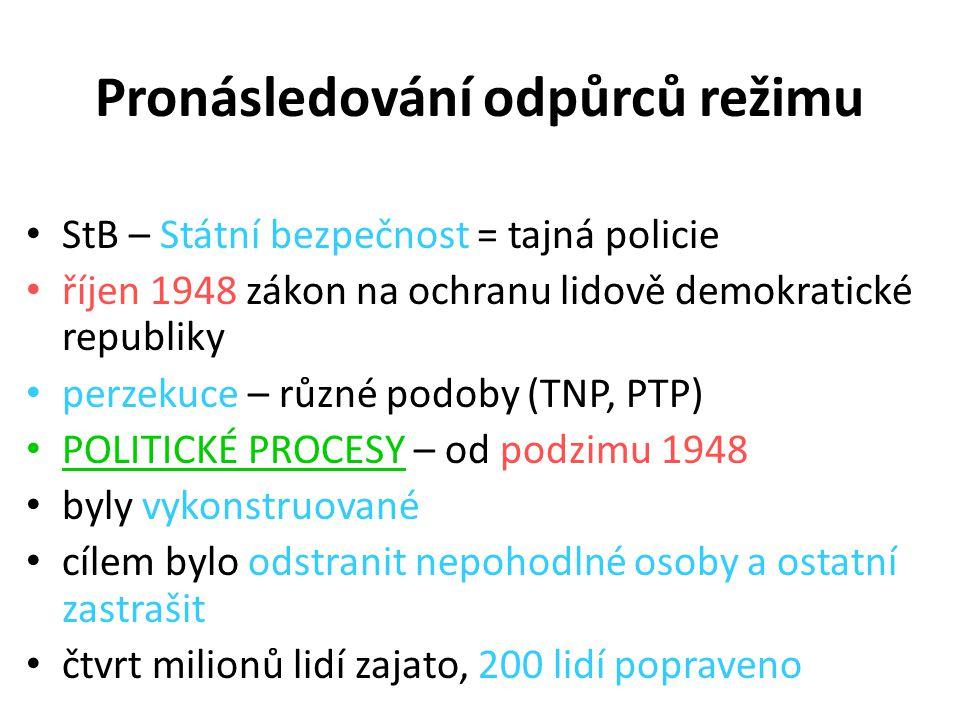 Pronásledování odpůrců režimu StB – Státní bezpečnost = tajná policie říjen 1948 zákon na ochranu lidově demokratické republiky perzekuce – různé podo
