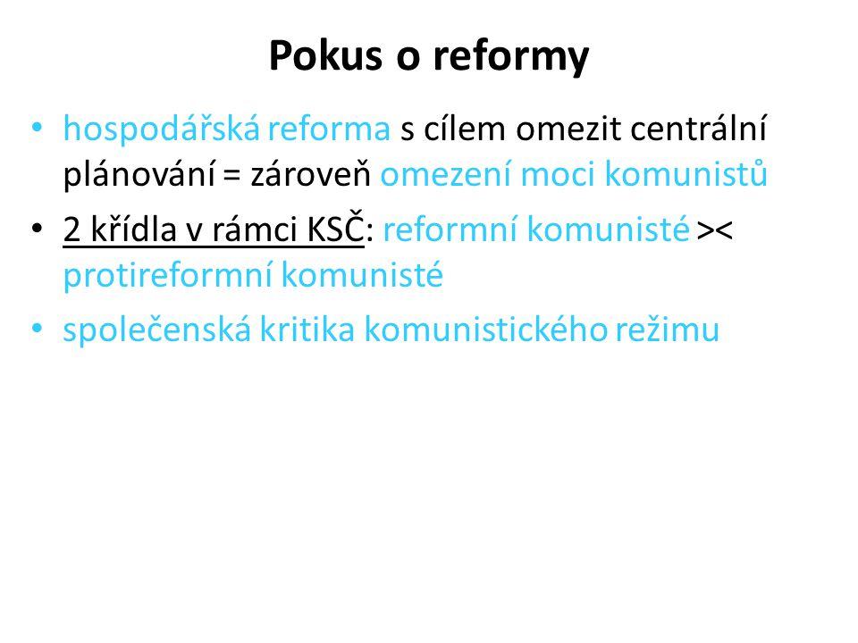 Pokus o reformy hospodářská reforma s cílem omezit centrální plánování = zároveň omezení moci komunistů 2 křídla v rámci KSČ: reformní komunisté >< pr
