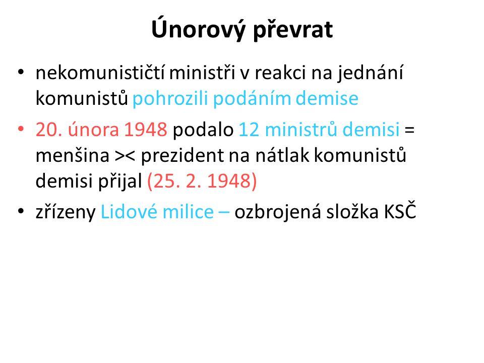 Únorový převrat nekomunističtí ministři v reakci na jednání komunistů pohrozili podáním demise 20. února 1948 podalo 12 ministrů demisi = menšina >< p