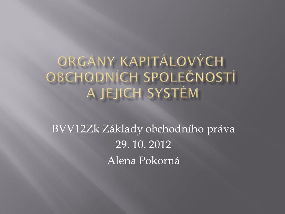 BVV12Zk Základy obchodního práva 29. 10. 2012 Alena Pokorná