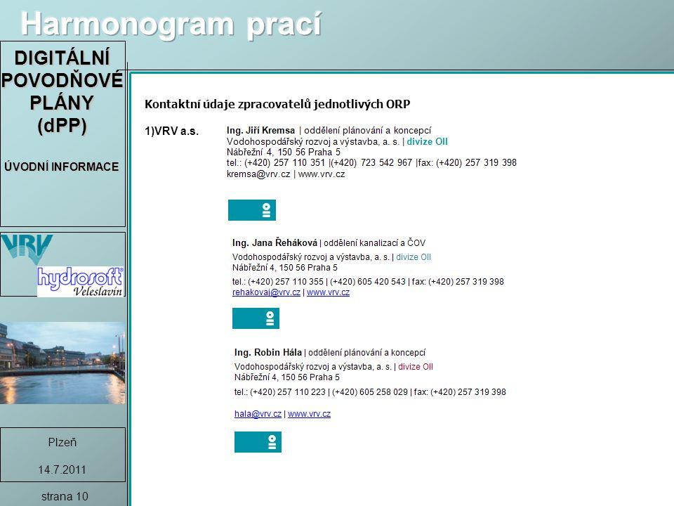 DIGITÁLNÍ POVODŇOVÉ PLÁNY (dPP) ÚVODNÍ INFORMACE Plzeň 14.7.2011 strana 10 Kontaktní údaje zpracovatelů jednotlivých ORP 1)VRV a.s.