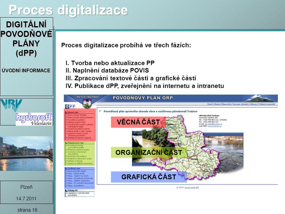 DIGITÁLNÍ POVODŇOVÉ PLÁNY (dPP) ÚVODNÍ INFORMACE Plzeň 14.7.2011 strana 16 Proces digitalizace probíhá ve třech fázích: I.
