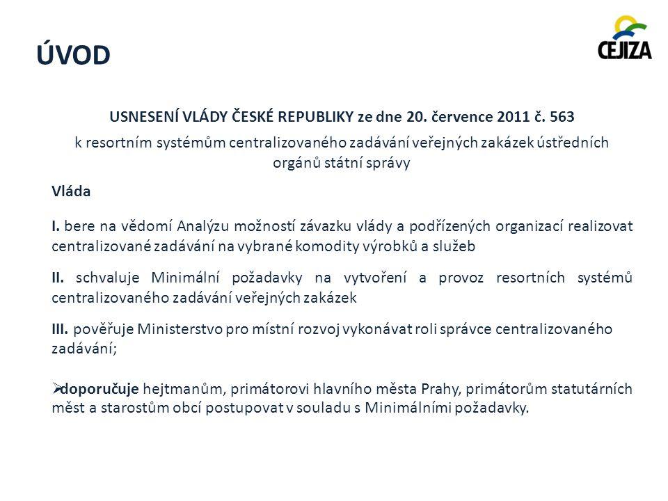 ÚVOD USNESENÍ VLÁDY ČESKÉ REPUBLIKY ze dne 20. července 2011 č.