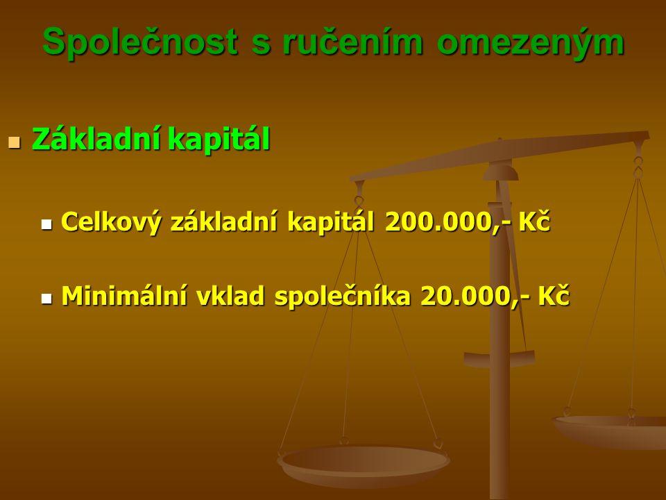 Společnost s ručením omezeným Základní kapitál Základní kapitál Celkový základní kapitál 200.000,- Kč Celkový základní kapitál 200.000,- Kč Minimální