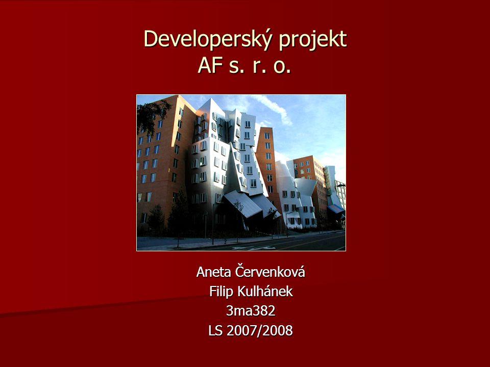 Developerský projekt AF s. r. o. Aneta Červenková Filip Kulhánek 3ma382 LS 2007/2008