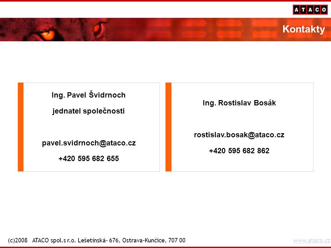 Kontakty Ing. Rostislav Bosák rostislav.bosak@ataco.cz +420 595 682 862 Ing.