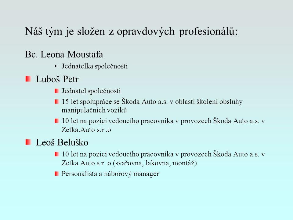 Náš tým je složen z opravdových profesionálů: Bc. Leona Moustafa Jednatelka společnosti Luboš Petr Jednatel společnosti 15 let spolupráce se Škoda Aut