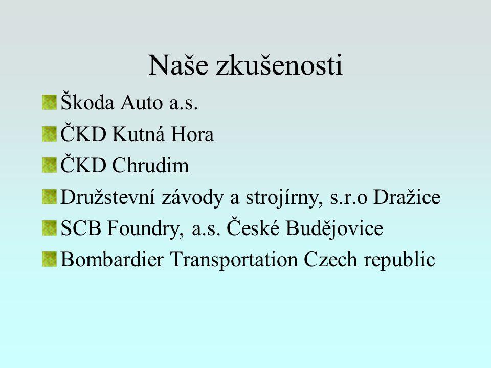 Naše zkušenosti Škoda Auto a.s. ČKD Kutná Hora ČKD Chrudim Družstevní závody a strojírny, s.r.o Dražice SCB Foundry, a.s. České Budějovice Bombardier
