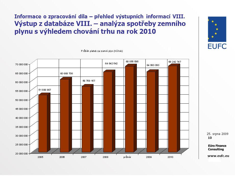 25. srpna 2009 10 www.eufc.eu Informace o zpracování díla – přehled výstupních informací VIII. Výstup z databáze VIII. – analýza spotřeby zemního plyn