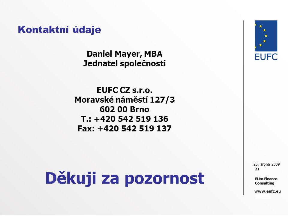 25. srpna 2009 21 www.eufc.eu Kontaktní údaje Daniel Mayer, MBA Jednatel společnosti EUFC CZ s.r.o. Moravské náměstí 127/3 602 00 Brno T.: +420 542 51