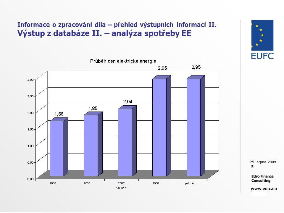 25. srpna 2009 5 www.eufc.eu Informace o zpracování díla – přehled výstupních informací II. Výstup z databáze II. – analýza spotřeby EE