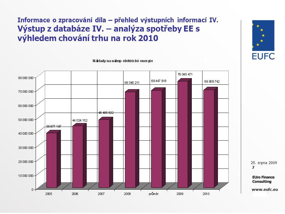 25. srpna 2009 7 www.eufc.eu Informace o zpracování díla – přehled výstupních informací IV. Výstup z databáze IV. – analýza spotřeby EE s výhledem cho