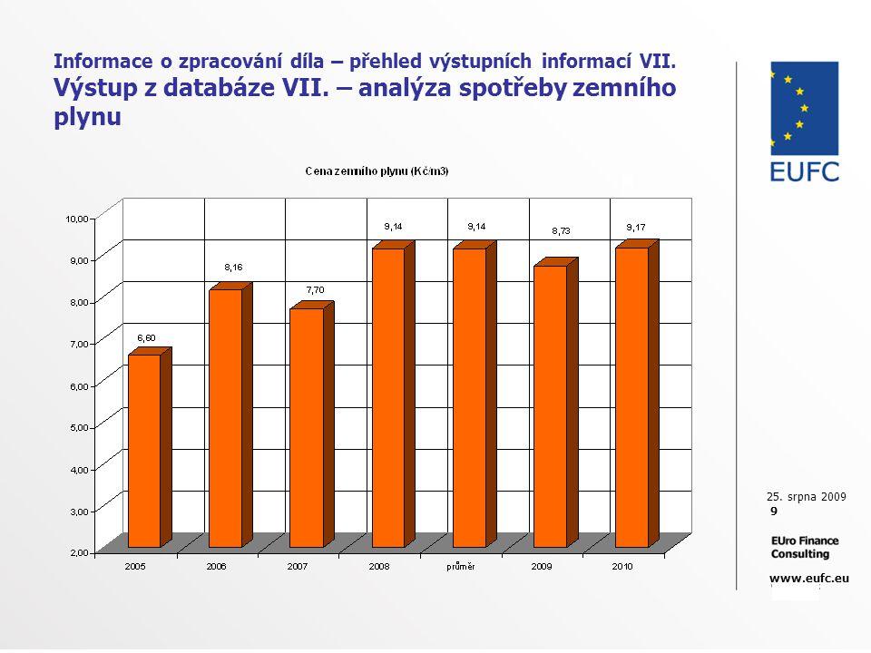 25. srpna 2009 9 www.eufc.eu Informace o zpracování díla – přehled výstupních informací VII. Výstup z databáze VII. – analýza spotřeby zemního plynu