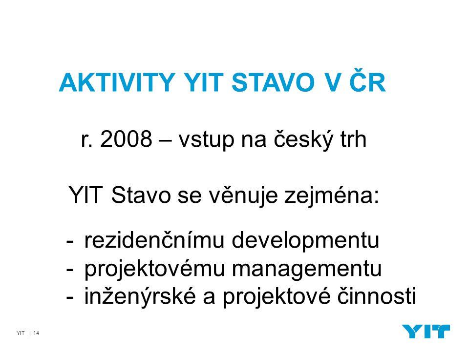 YIT | 14 AKTIVITY YIT STAVO V ČR r. 2008 – vstup na český trh YIT Stavo se věnuje zejména: - rezidenčnímu developmentu - projektovému managementu - in