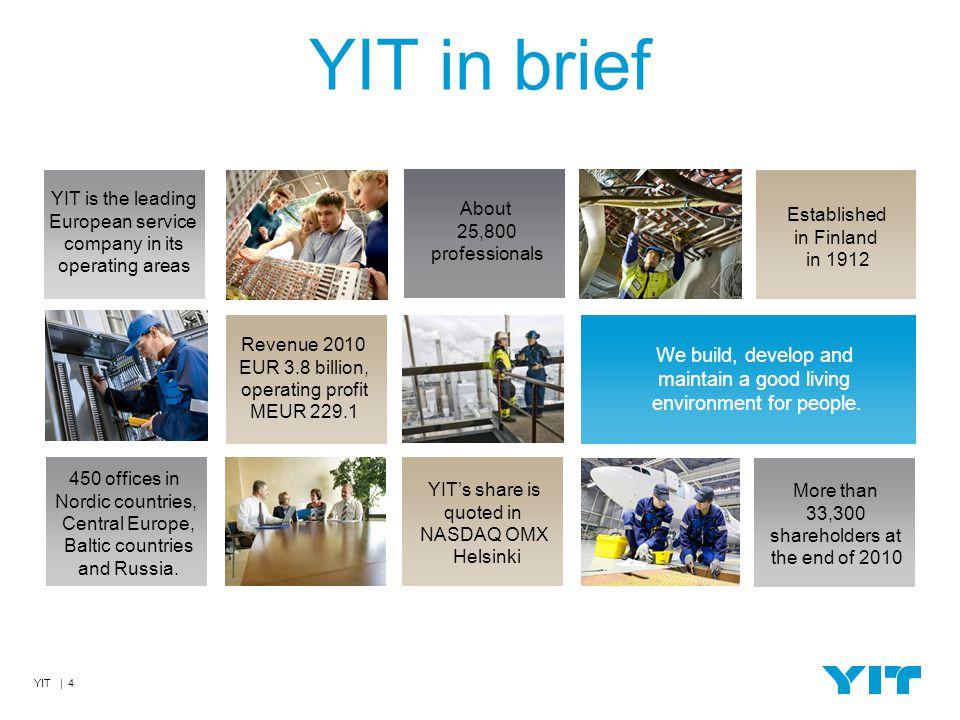 YIT | 15 CO NÁS DĚLÁ..LEPŠÍMI 1.Klademe důraz na ekologii a nízkoenergetičnost 2.YIT 4U (YIT pro Vás) nadstandardní služby pro klienty 3.Finský styl bydlení