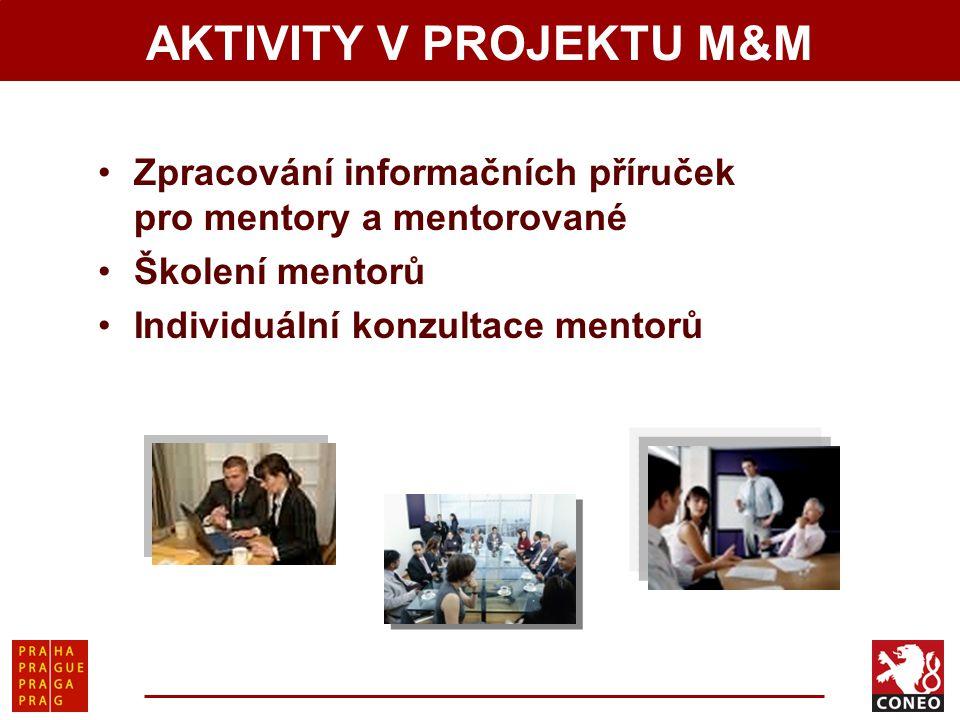 AKTIVITY V PROJEKTU M&M Zpracování informačních příruček pro mentory a mentorované Školení mentorů Individuální konzultace mentorů